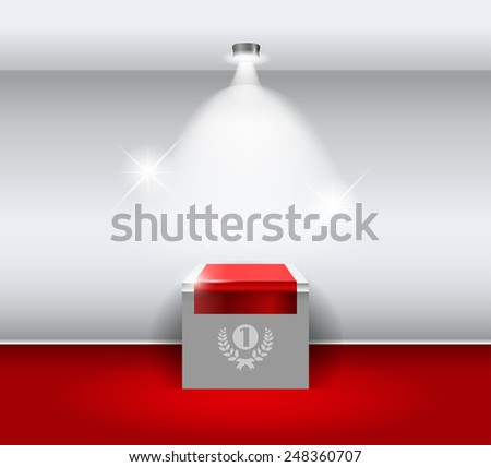 3d Empty white stand for your exhibit with red carpet. - stock photo