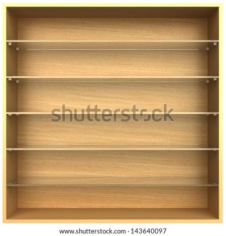 3d, empty wooden bookshelf glass - stock photo