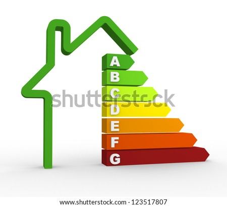3d energy efficiency chart. 3d render - stock photo