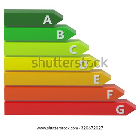 3D energy rating bars.Isolated. - stock photo