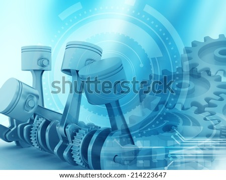 3d engine pistons and cog wheels background;  - stock photo