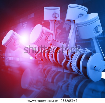 3d engine pistons and cog wheels background	 - stock photo