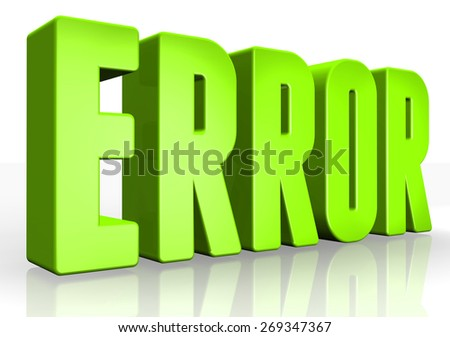 3D error text on white background - stock photo