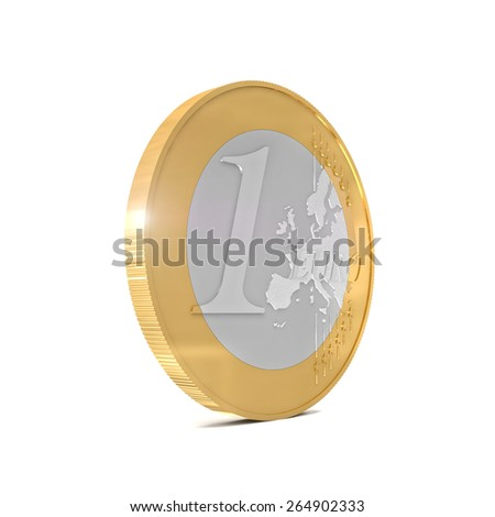 3d euro coin isolated on white background - stock photo