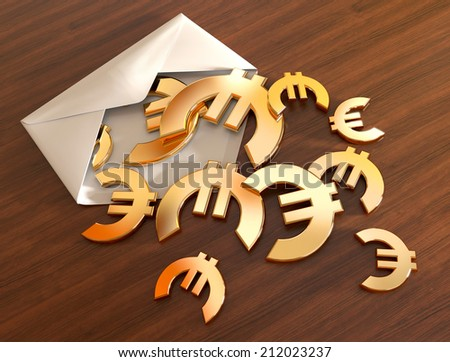 3d euro signs in envelope. - stock photo