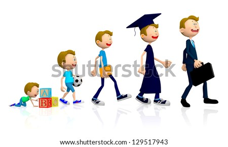 3D evolution of a man at different stages of his life - isolate dover white - stock photo