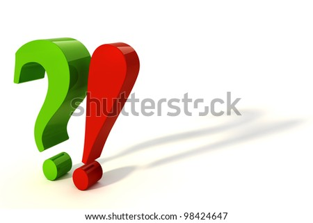 3d exclamation and question mark - stock photo