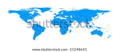 3d extruded countries borders worldmap (blue) - stock photo
