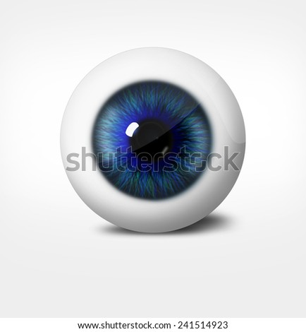3d eye of man on white background. eyeball with pupil blue tint - stock photo