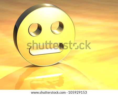 3D Face Gold Sign over yellow background - stock photo