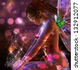 3d fairy girl on colorful  dreamy background with bokeh effect. - stock photo