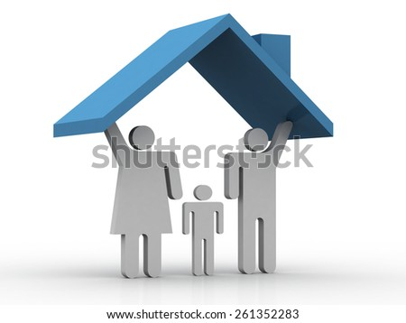 3D family in a house - stock photo