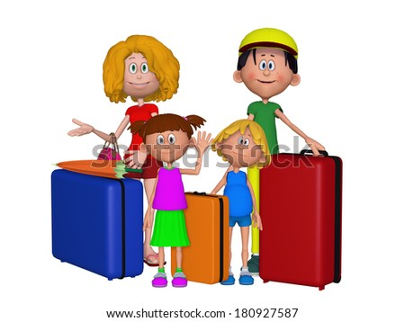 3d family traveling - stock photo