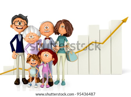 3D Family with a growth graph - isolated over a white background - stock photo