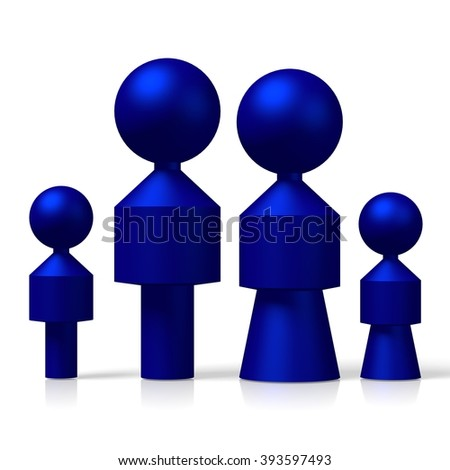 3D family with two children concept. - stock photo