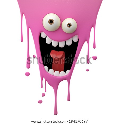 3D fantasy object, color splash character, funny design element, attractive emoticon, unique expression sticker , isolated on the white background - stock photo