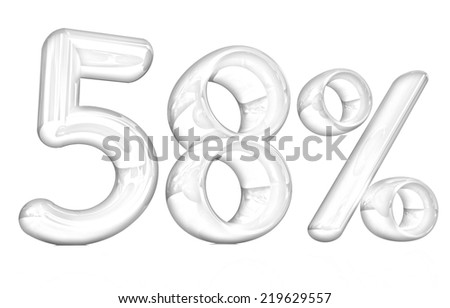 """3d """"58"""" - fifty eight percent on a white background. Pencil drawing  - stock photo"""
