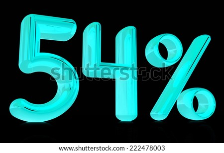 """3d """"54"""" - fifty four percent on a black background - stock photo"""