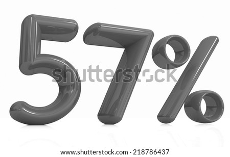 """3d """"57"""" - fifty seven percent on a white background - stock photo"""