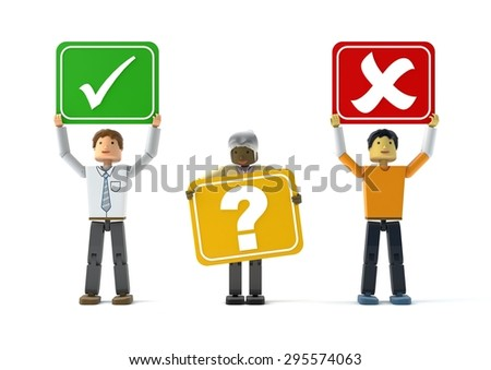3D figures holding YES, MAYBE and NO signs - stock photo