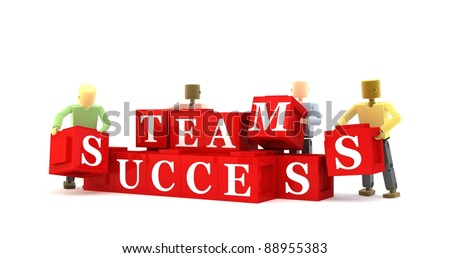 3D figures reaching for team success against a white background - stock photo