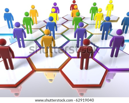 3D figures standing in cells as part of a model of a team with an emphasis on diversity - stock photo
