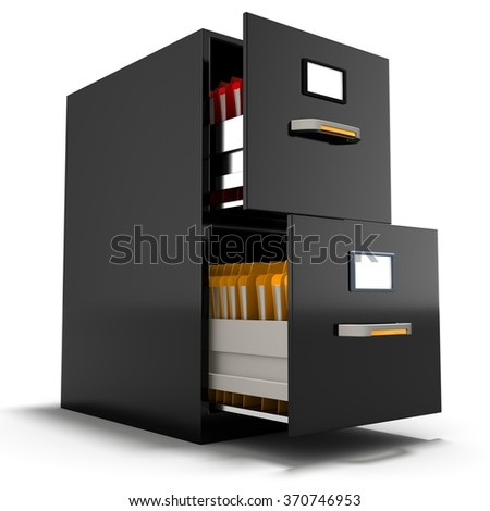 3d file cabinet with files on a white background - stock photo