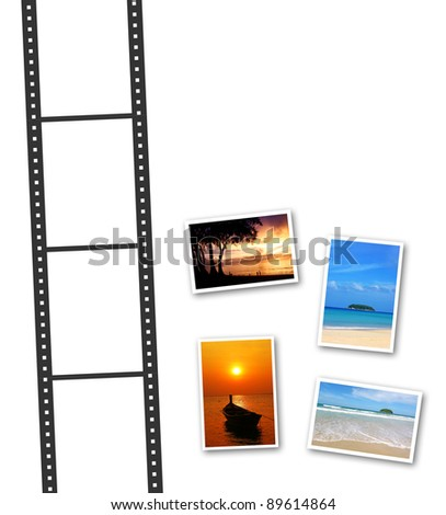 3D film strip and photos with a space for text - stock photo