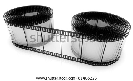 3D film strip roll isolated over white - stock photo