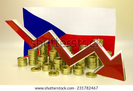 3D finance graph - currency collapse - Czech crown - stock photo