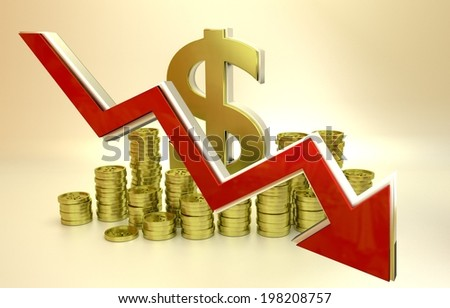3D finance graph - currency collapse - dollar. - stock photo
