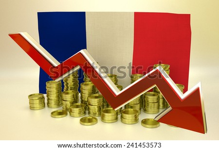 3D finance graph - currency collapse -  France economy - stock photo