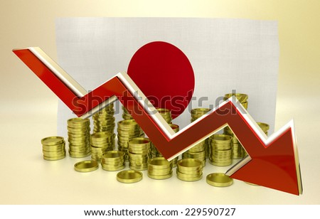 3D finance graph - currency collapse - Japanese Yen - stock photo