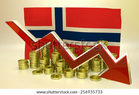3D finance graph - currency collapse -  Norway economy - stock photo