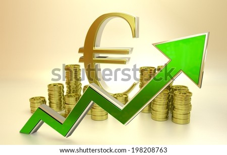 3D finance graph - rise of the euro. - stock photo