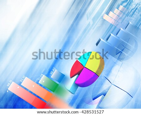 3d Financial chart and graphs background. stock market anylis - stock photo