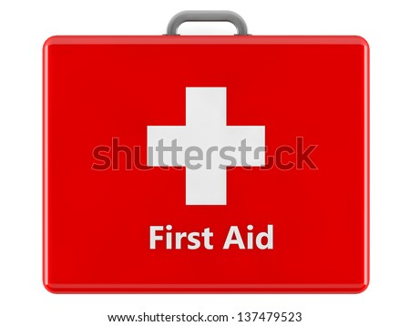 3d First aid kit box - stock photo