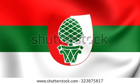 3D Flag of Augsburg City (Bavaria), Germany.  - stock photo