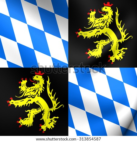 3D Flag of Bavaria-Landshut (from 1353 to 1503). Close Up.    - stock photo