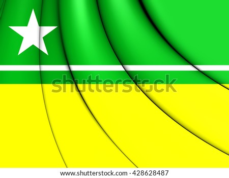 3D Flag of Boa Vista City (Roraima), Brazil.   - stock photo