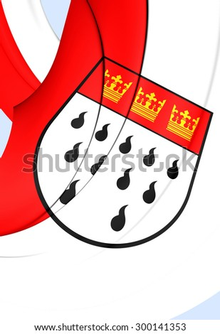 3D Flag of Cologne City, Germany. Close Up.    - stock photo
