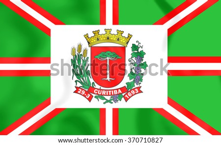 3D Flag of Curitiba (Parana), Brazil. Close Up. - stock photo