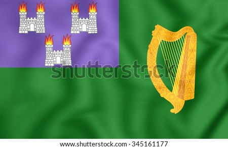 3D Flag of Dublin, Ireland.   - stock photo