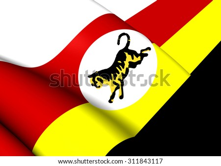 3D Flag of Federated Malay States (1895-1946). Close Up. - stock photo