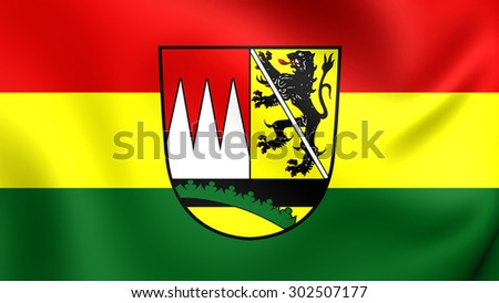 3D Flag of Hassberge District, Germany. Close Up.    - stock photo