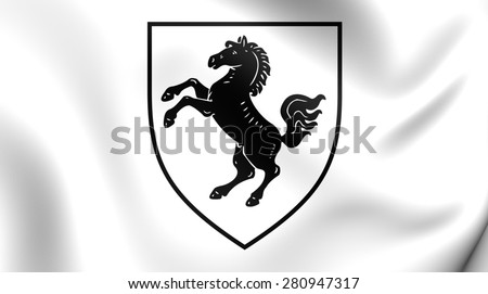 3D Flag of Herford Kreis, Germany. Close Up.    - stock photo