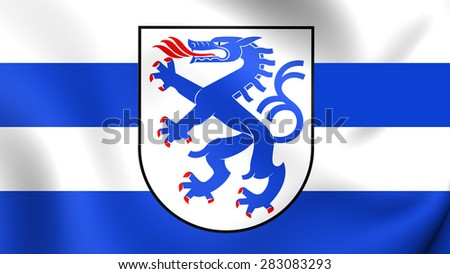 3D Flag of Ingolstadt, Germany. Close Up.    - stock photo