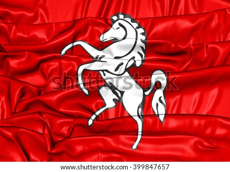 3D Flag of Kent County, England. Close Up. - stock photo