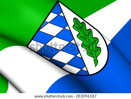 3D Flag of Landkreis Aichach, Germany. Close Up. - stock photo