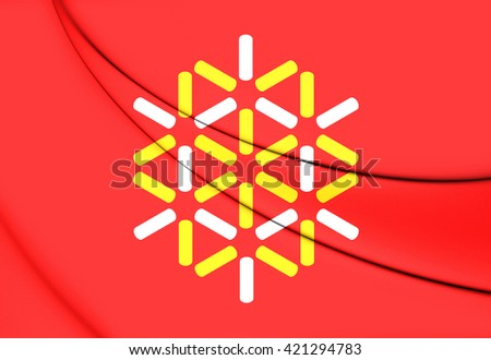 3D Flag of Languedoc-Roussillon, France. Close Up.    - stock photo